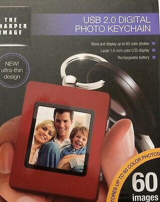 The Sharper Image USB 2.0 Digital Photo Keychain ~ RED ~ 60 IMAGES