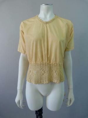 Original Edwardian / WWI blouse with crochet trim and tassel tie - UK 8, 10, 12