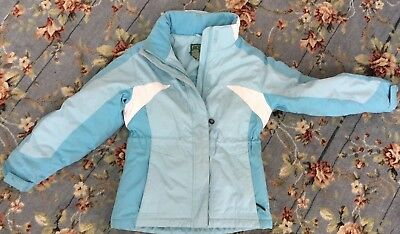 LL BEAN Girl's size 8 Winter Coat by L L Bean TWO TONE BLUE HOODED! WARM! GREAT
