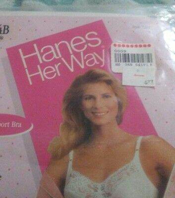 ( NWT) Vintage (1989) Hanes Her Way 34B Satin & Lace Bra,White color, style 7203