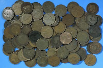 Lot of 100 Great Britain British Large Penny Coins Pennies