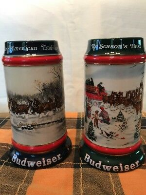 Budweiser Collector Steins Signed By The Artist 1990, 1991
