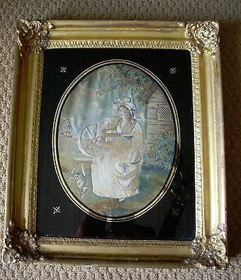 Antique C. 1810 American Silk Embroidery Picture With Provenance . All Original