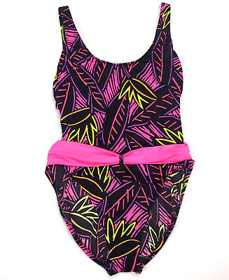 VTG 80s Swimsuit Size 13 Large Neon Pink High Cut Leg Workout Exercise Bodysuit
