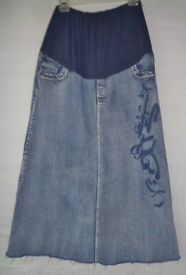 Style J maternity denim jean skirt XL long modest