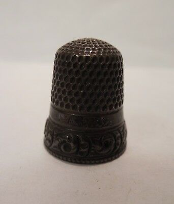 Vintage - Stern Brothers - Ornate Design - Sterling Silver - Thimble - Size 8