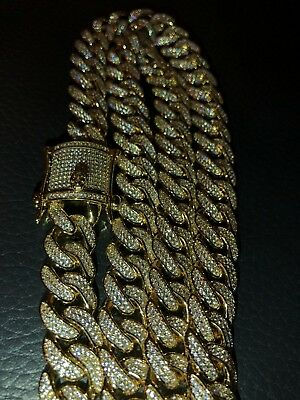 """Men's Curb Cuban Miami Link 28"""" Chain 14k Gold Plated 12mm 40ct Lab Diamonds"""