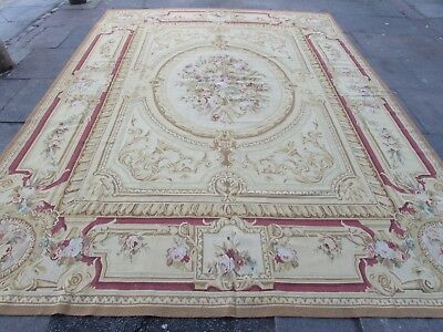 Old Hand Made French Design Wool Beige Brown Pink Original Aubusson 365X272cm
