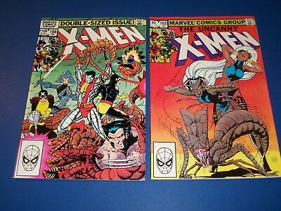 Uncanny X-men #165,166 Bronze Age lot of 2 Brood Wolverine VF to NM- Wow