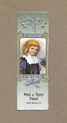 Vintage Price Teeple Pianos~Chicago IL~Victorian Trade Card Bookmark~Embossed a