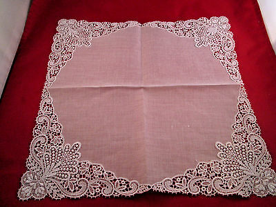 Beautiful White Special Occasion Scrolled Edging Delicate Hankie