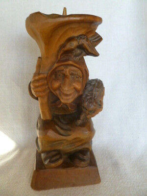 "Vintage Germany Carved Wood Witch with Raven & Cat 10"" Candleholder  - Excellent"
