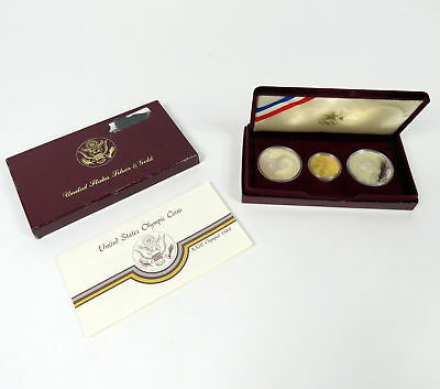 Us Mint Olympic 1983 & 1984 Silver Dollar + $10 Gold 3 Coin Set Xxiii Olympiad