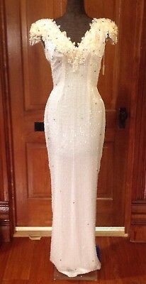 """""""Vintage"""" Womens Heavy Beaded Sequined White Formal Dress Gown Sz 6 Pageant"""
