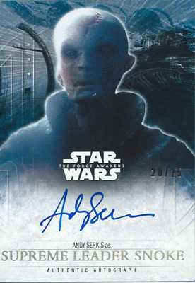 2017 Topps Star Wars The Last Jedi Silver Auto Andy Serkis Leader Snoke # 20/25