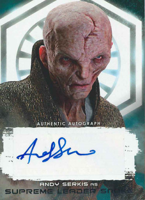 2017 Topps Star Wars The Last Jedi Silver Auto Andy Serkis Leader Snoke # 22/25