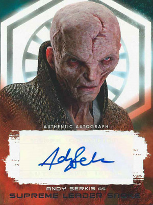 2017 Topps Star Wars The Last Jedi Red Auto Andy Serkis Leader Snoke # 99/99