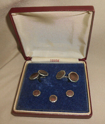 Cufflink and Stud Set Mother of Pearl Silvertone Metal Swank Box