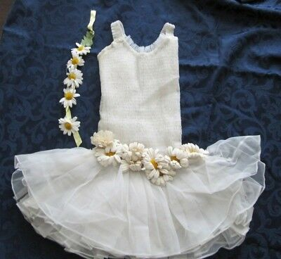 1950s ? VINTAGE CURTAIN CALL BALLET DANCE COSTUME FLOWERS SIZE 12 LARGE