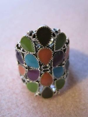 MULTICOLORS of ENAMEL Droplets Large Fun & Funky Elasticized Silver Tone Ring