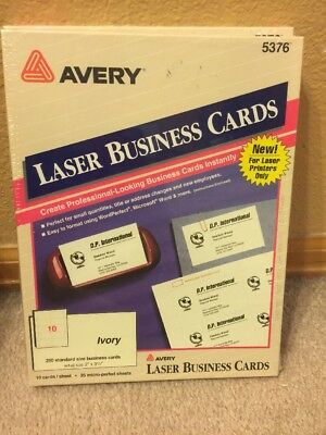 "NIP 250 Laser Business Cards Avery 5376 Ivory 10 cards/sheet 2"" x 3 1/2"" Laser"