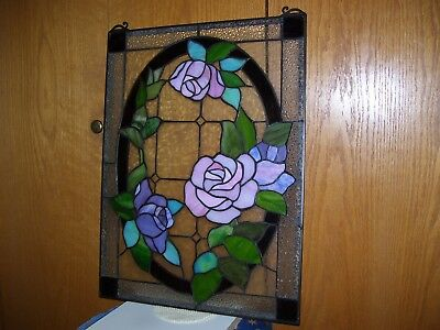 Stained Glass Window Panel Handcrafted Pink/ Purple Roses 24 x 18