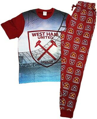 West Ham pjs Pyjamas Pajama Mens 100% Official Lounge Pants Set HAMMERS IRONS
