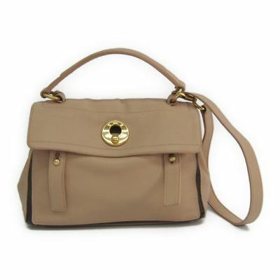 0cdd5c9f4e Yves Saint Laurent Muse Two 283761 Women s Leather Canvas Handbag Beige  BF315987