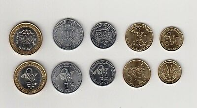New: West African States Coins Set ( 5,10,50,100, 500F), mint,  2010-2016 Coins
