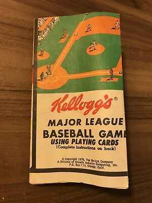 1970 Kellogg's Major League Baseball Game (MLB) Using Playing Cards, Folded, USA