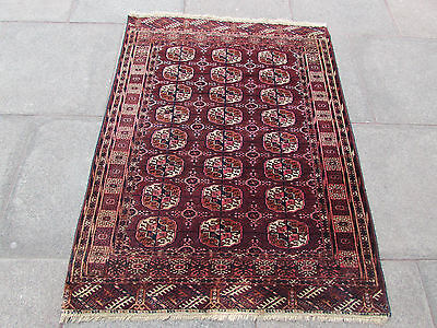Fine Antique Traditional Hand Made Turkoman Tekke Bokhara Wool Red Rug 144x108cm