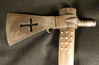 Original late 1800's Huron Indian Pipe Tomahawk French Head Hallmarked Cross Cut