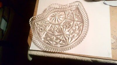 """11"""" x 10"""" Vintage Cut Glass Crystal Nibbles Hors d'oeuvres Dish NICE AND HEAVY"""