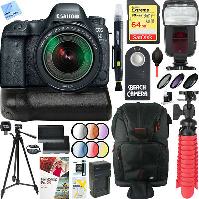 Canon EOS 6D Mark II DSLR Camera 24-105mm IS STM Lens + Canon Battery Grip Kit