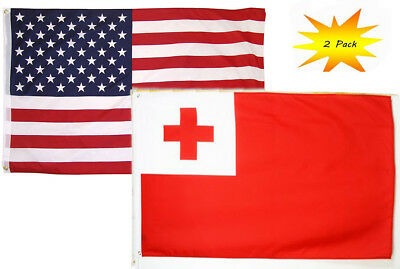 USA American /& Ghana Country Flag Banner 2 Pack 2x3 2/'x3' Wholesale Set