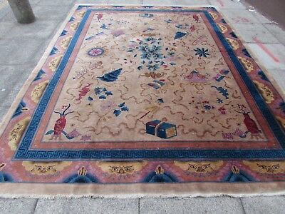 Antique Hand Made Art Deco Chinese Carpet Beige Blue Wool Large Carpet 322x247cm