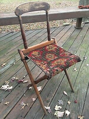 Antique Victorian Folding Chair Tapestry Seat