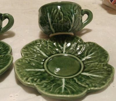 Bordallo Pinheiro Cabbage Leaves Two Cups and Saucers majolica Portugal