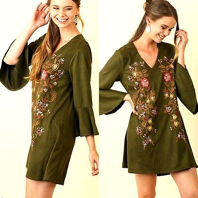 Umgee Dress Size XL S M L Embroidered Floral Olive Bell Sleeve Tunic Womens New