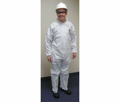 ENVIROGUARD 25 Count Box,Coveralls with Elastic Cuff, Collared,White,Size Medium