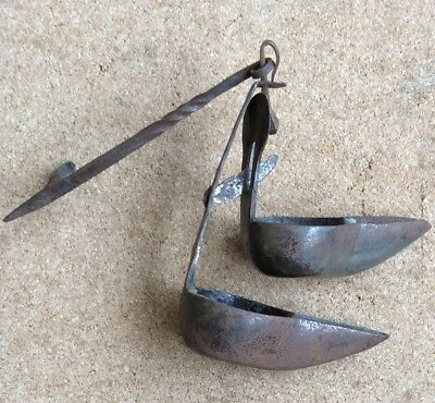 Early Double Whale Oil Betty Lamp,hand Made With Hanger
