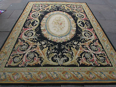 Old Hand Made French Design Wool Black Gold Original Aubusson 319X240cm 10x8