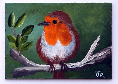 """ACEO Original Painting """"Robin Redbreast"""" by Judith Rowe"""