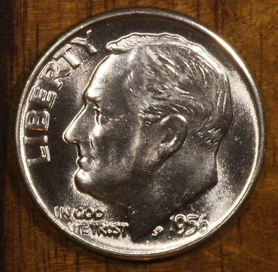 1956 D Roosevelt Dime CH BU LUSTER! 90% Silver US Coin OBW Roll