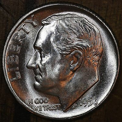 1956 P Roosevelt Dime CH BU LUSTER! 90% Silver US Coin From OBW Roll