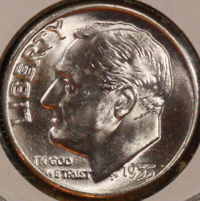 1955 P Roosevelt Dime  CH BU  LUSTER! 90% Silver US Coin FREE SHIPPING OBW ROLL