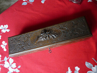 Victorian HAND CARVED BLACK FOREST WOODEN BOX CASKET with Key & Lock Edelweiss