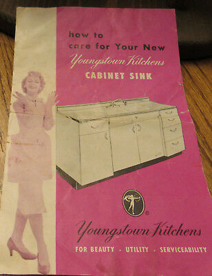 1950's A. S. Youngstown Steel Kitchens Cabinet Sink WARREN OHIO care Pamplet