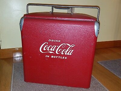 1950's COKE COCA COLA COOLER w/TRAY,BOTTLE OPENER, DRAIN PLUG /ACTON MFG-VG COND