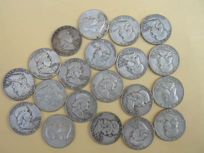 Lot (20) Franklin Silver Half Dollars - No Culls or Cleaned Coins